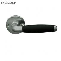 Formani Timeless Ton deurkruk op rond rozet mat nikkel/ebbenhout