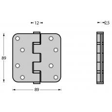 """Intersteel zwarte scharnier afgerond 3.5"""" (89x89x2,5)"""