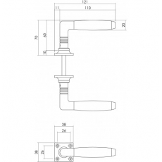 Deurkruk Ton 400 op rozet nikkel/ebbenhout