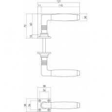 Deurkruk Ton 400 op rozet mat nikkel/ebbenhout
