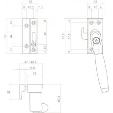 SKG* Afsluitbare raamsluiting links Ton 400 chroom/ebbenhout compleet