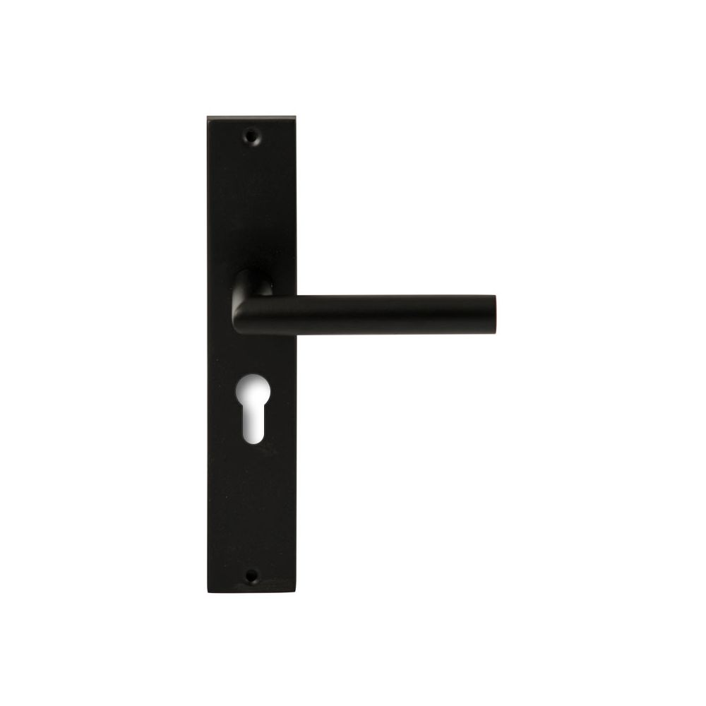 Deurkruk Toledo Zwart op rechthoekig langschild profielcilinder 55mm