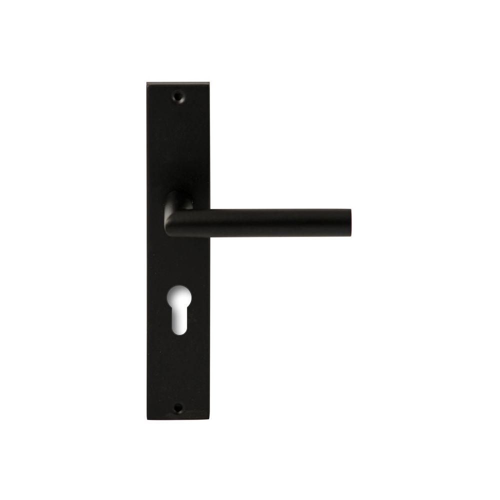 Deurkruk Toledo Zwart op rechthoekig langschild profielcilinder 72mm