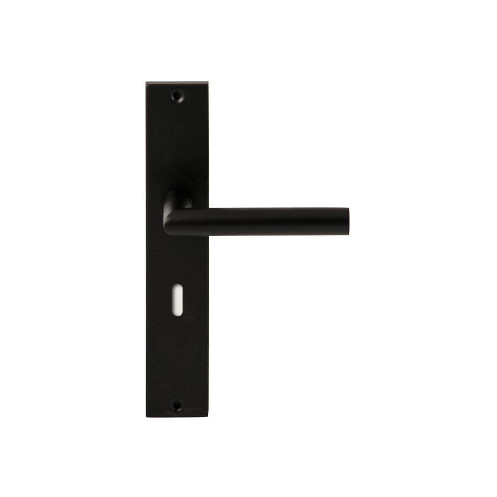 Deurkruk Toledo Zwart op rechthoekig langschild sleutel 72mm