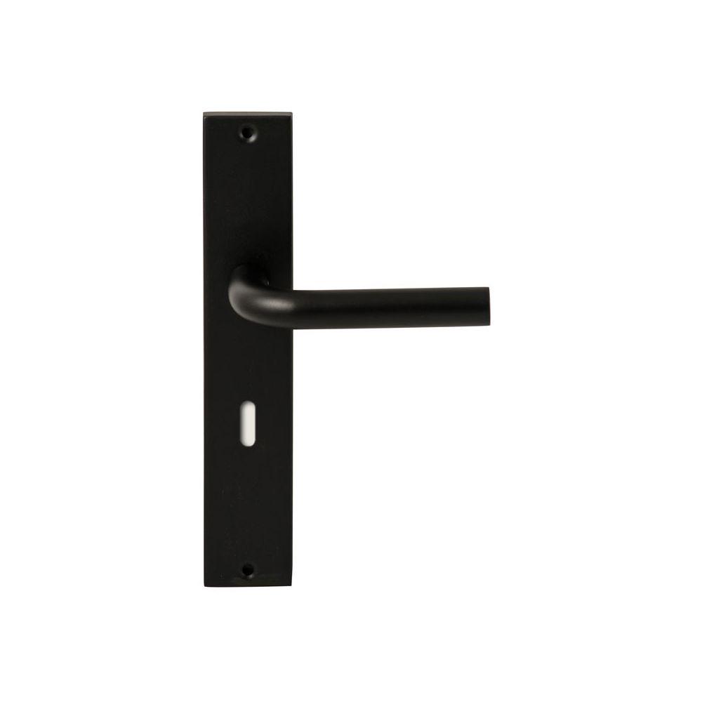 Deurkruk Oslo Zwart op rechthoekig langschild sleutel 72mm
