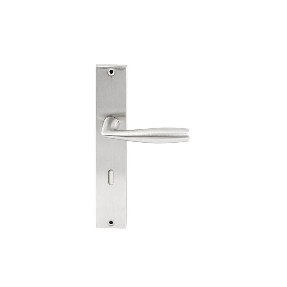 Deurkruk Naxos RVS op rechthoekig langschild sleutel 72mm
