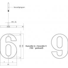 Huiscijfer modern 120mm nikkel mat