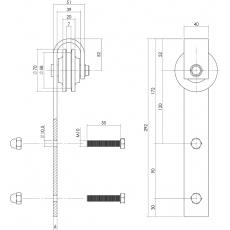 Set van 2 rollers tbv schuifdeursysteem, incl. bevestiging, RVS/mat zwart