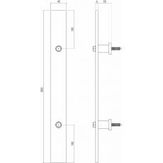 Deurgreep plat 800x40 mm - mat zwart