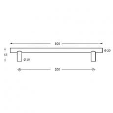 Deurgreep per stuk T-vorm 300x65x20 hoh 200mm RVS/mat zwart