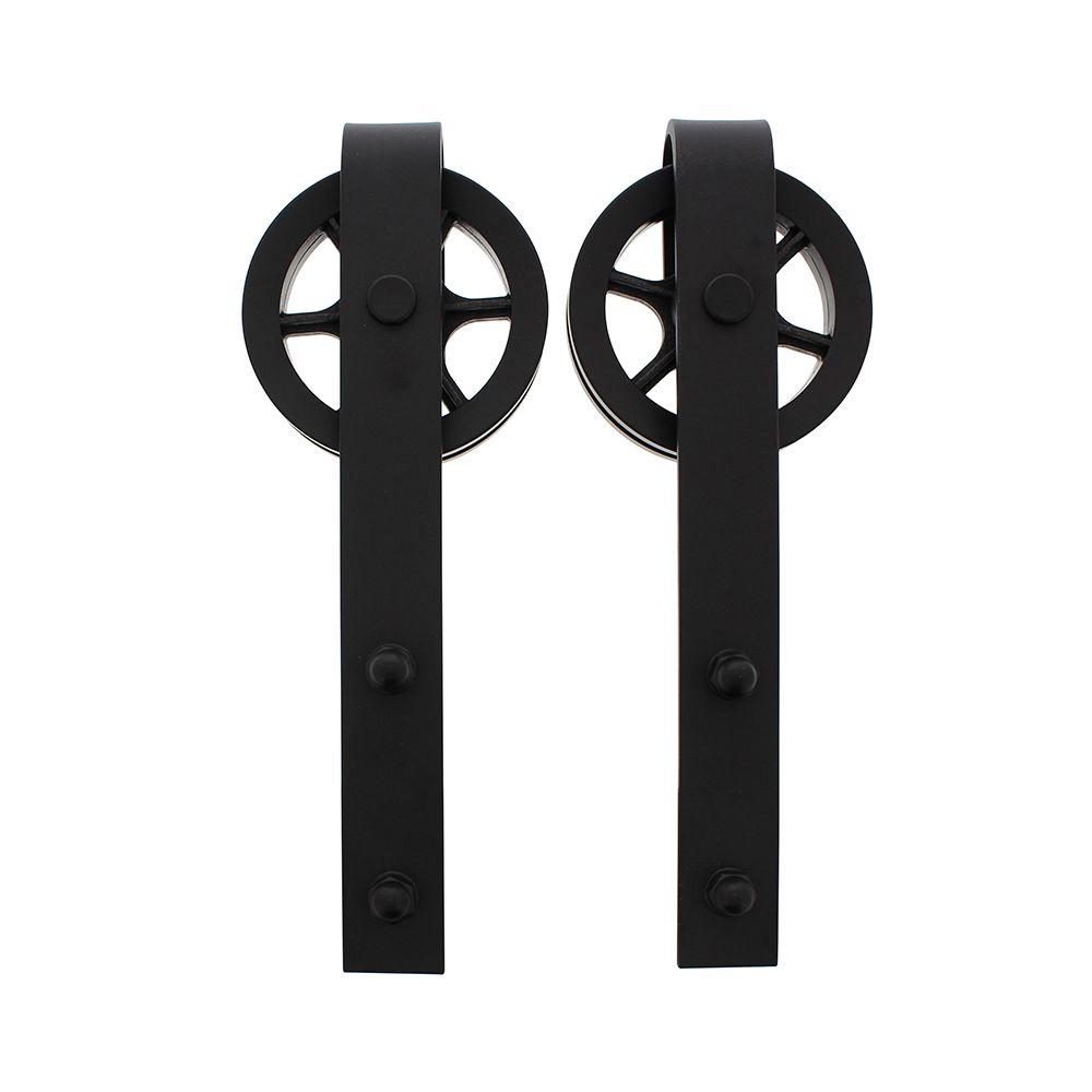 Set van 2 hangrollen spaakwiel 34cm mat zwart