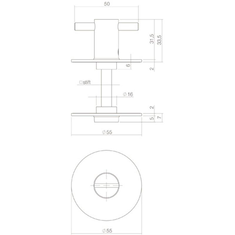 Wc sluiting 5mm renovatie zelfklevend rond plat 55x2mm rvs - Renovatie wc ...