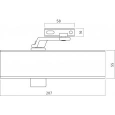 Zwarte deurdranger met schaararm DR 120, 207x55x40, sluitkracht 2~4