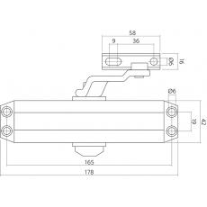 Zwarte deurdranger met schaararm DR 122, 179x42x64, sluitkracht 2~4