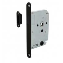 Intersteel magneet badkamer/toiletslot 63/8mm met zwarte voorplaat