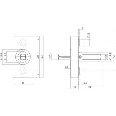 Basisplaat rechthoekig tbv raamkruk hals ø16mm RVS