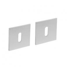 Magneet rozet vierkant met sleutelgat RVS geborsteld