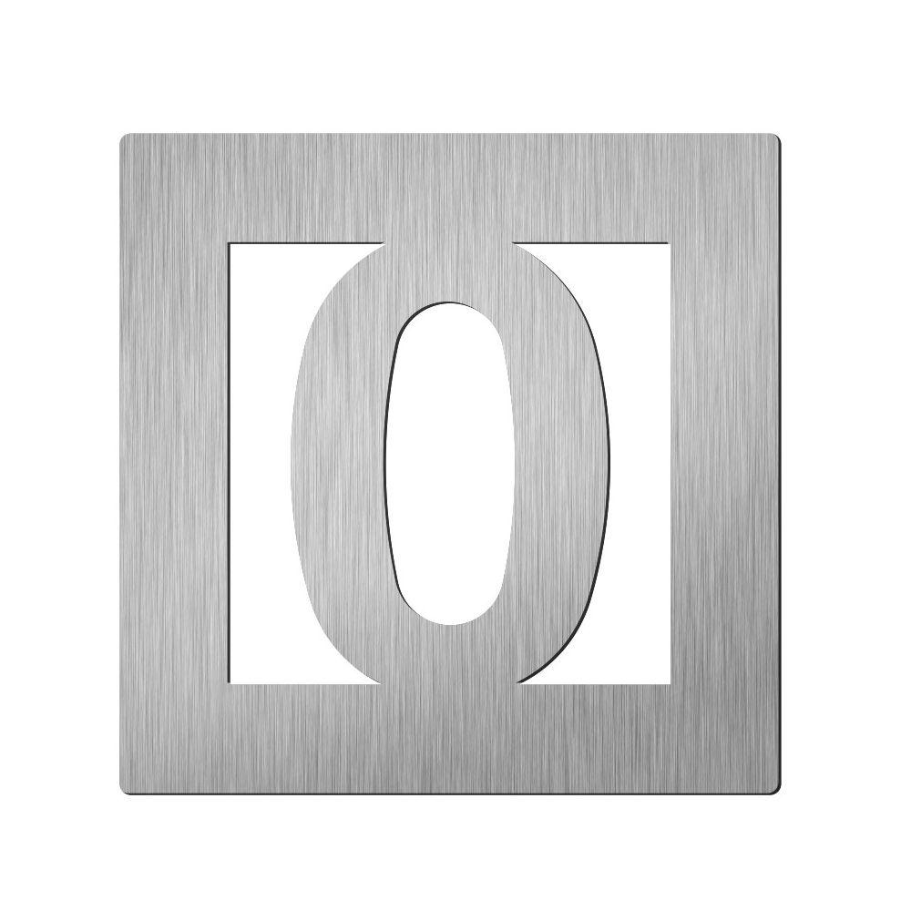 Afbeelding van Vierkant huiscijfer Didheya 60mm. RVS Cijfer 0
