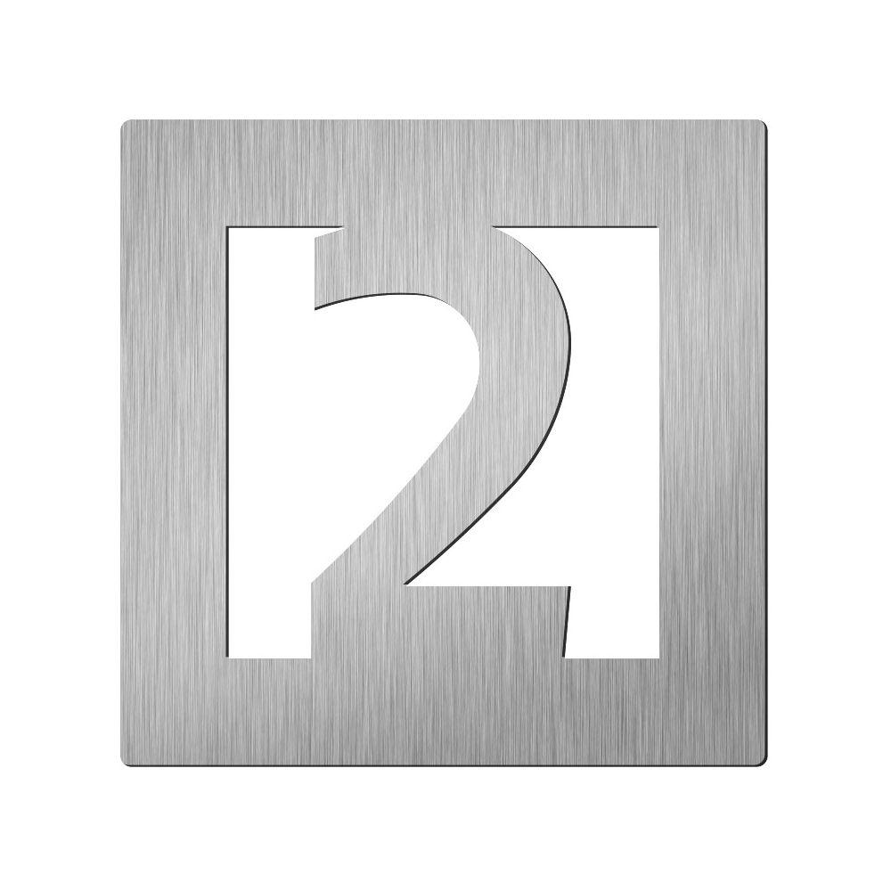 Afbeelding van Vierkant huiscijfer Didheya 60mm. RVS Cijfer 2