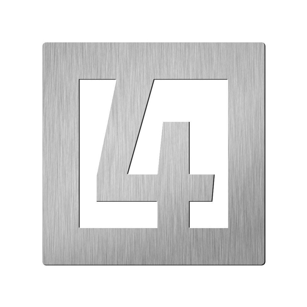 Afbeelding van Vierkant huiscijfer Didheya 60mm. RVS Cijfer 4