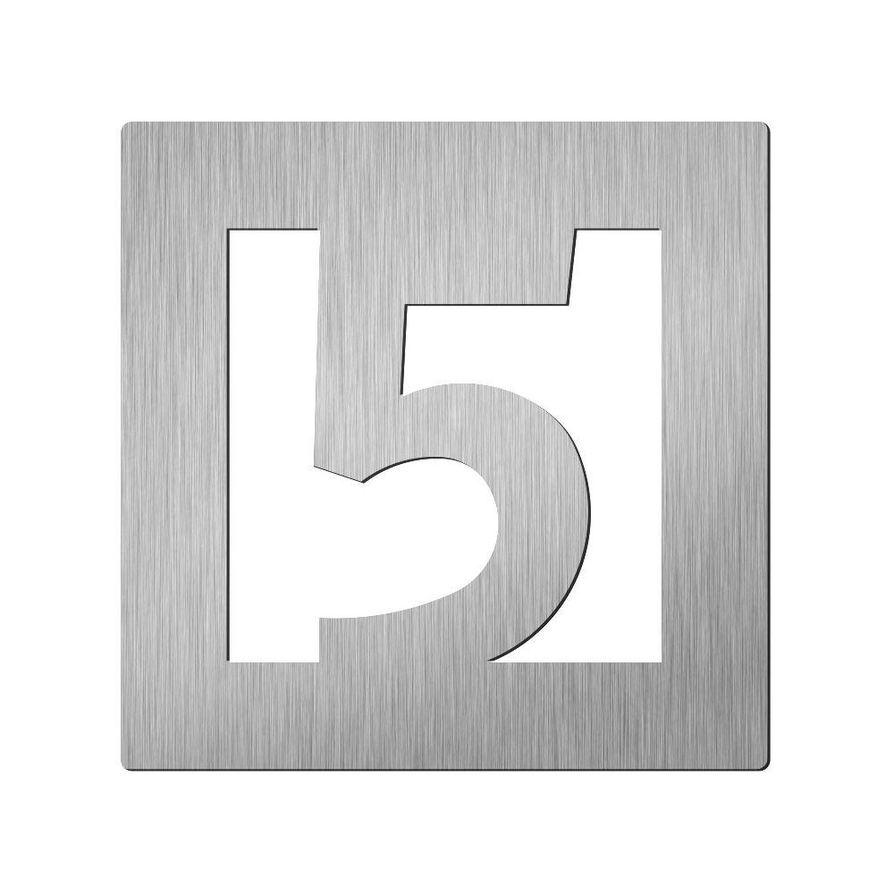 Afbeelding van Vierkant huiscijfer Didheya 60mm. RVS Cijfer 5