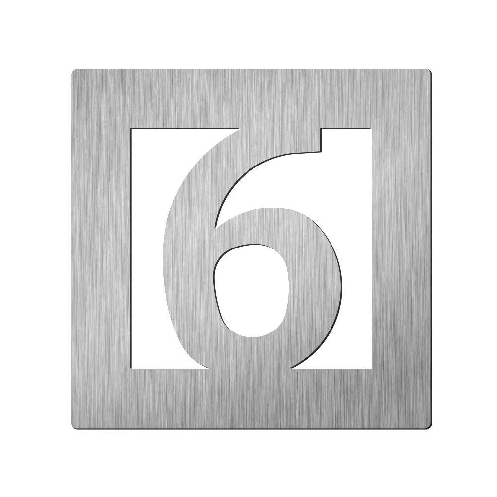 Afbeelding van Vierkant huiscijfer Didheya 60mm. RVS Cijfer 6