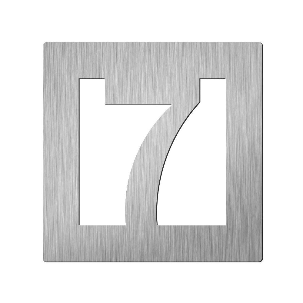 Afbeelding van Vierkant huiscijfer Didheya 60mm. RVS Cijfer 7