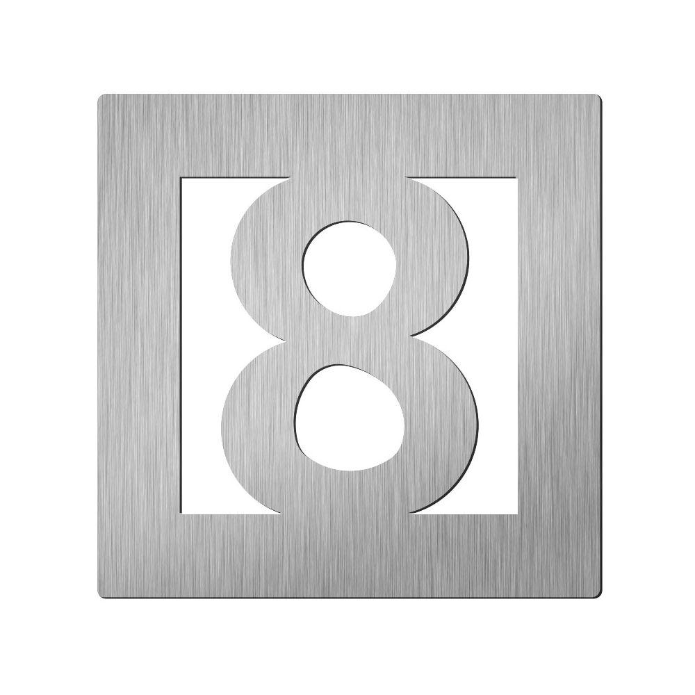 Afbeelding van Vierkant huiscijfer Didheya 60mm. RVS Cijfer 8