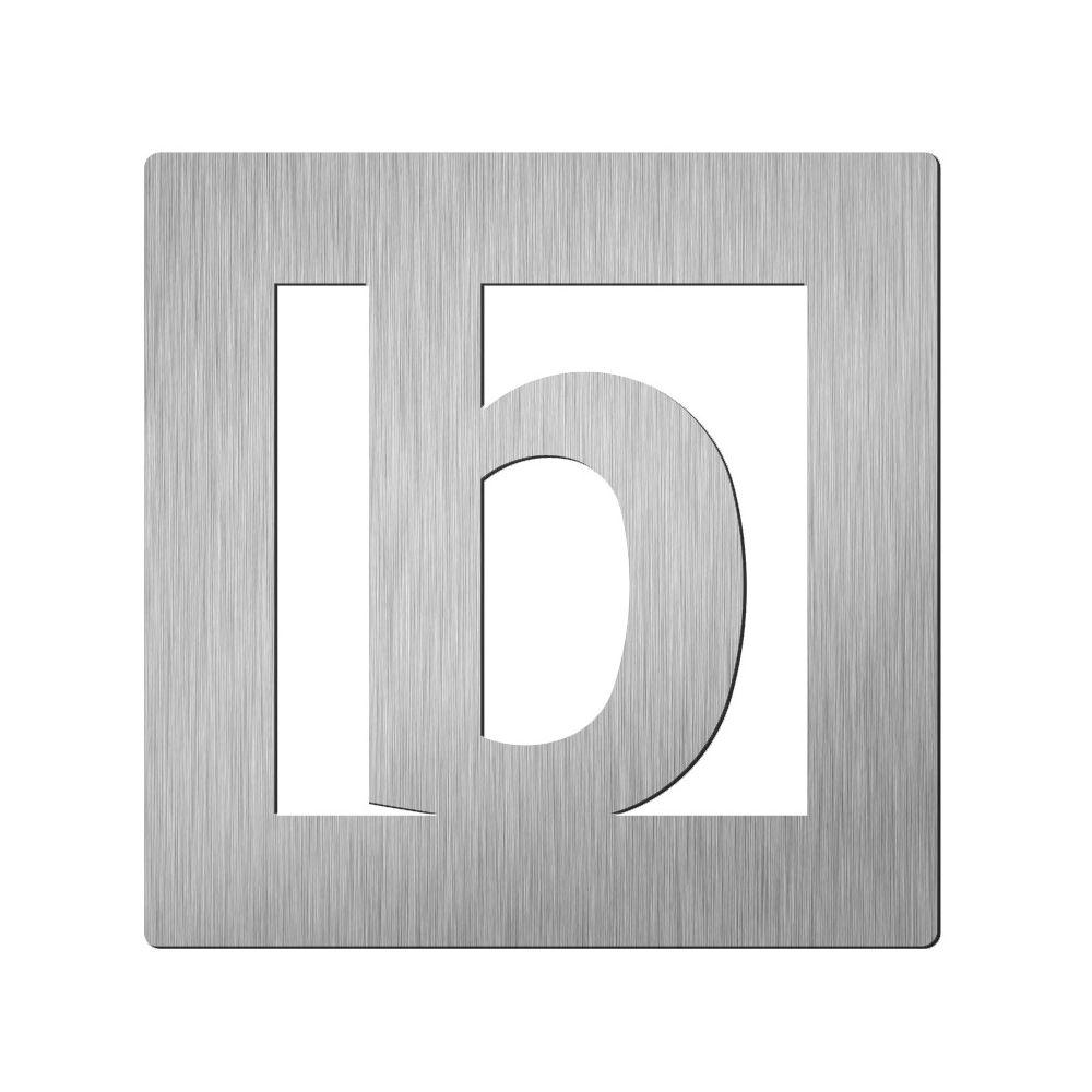 Afbeelding van Vierkant huisletter Didheya 60mm. RVS Letter B