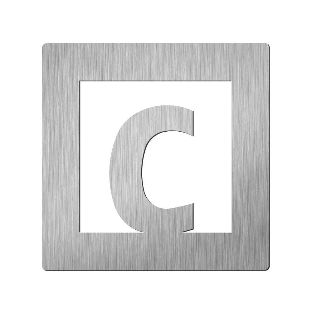 Afbeelding van Vierkant huisletter Didheya 150mm. RVS Letter C