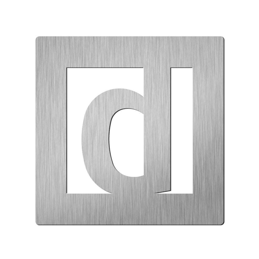 Afbeelding van Vierkant huisletter Didheya 150mm. RVS Letter D