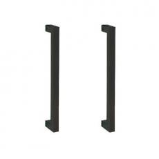 Vierkante beugelgreep 20x200mm dubbel mat zwart