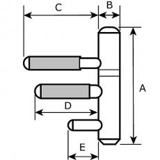 Inboorpaumelle Ø14mm - nikkel