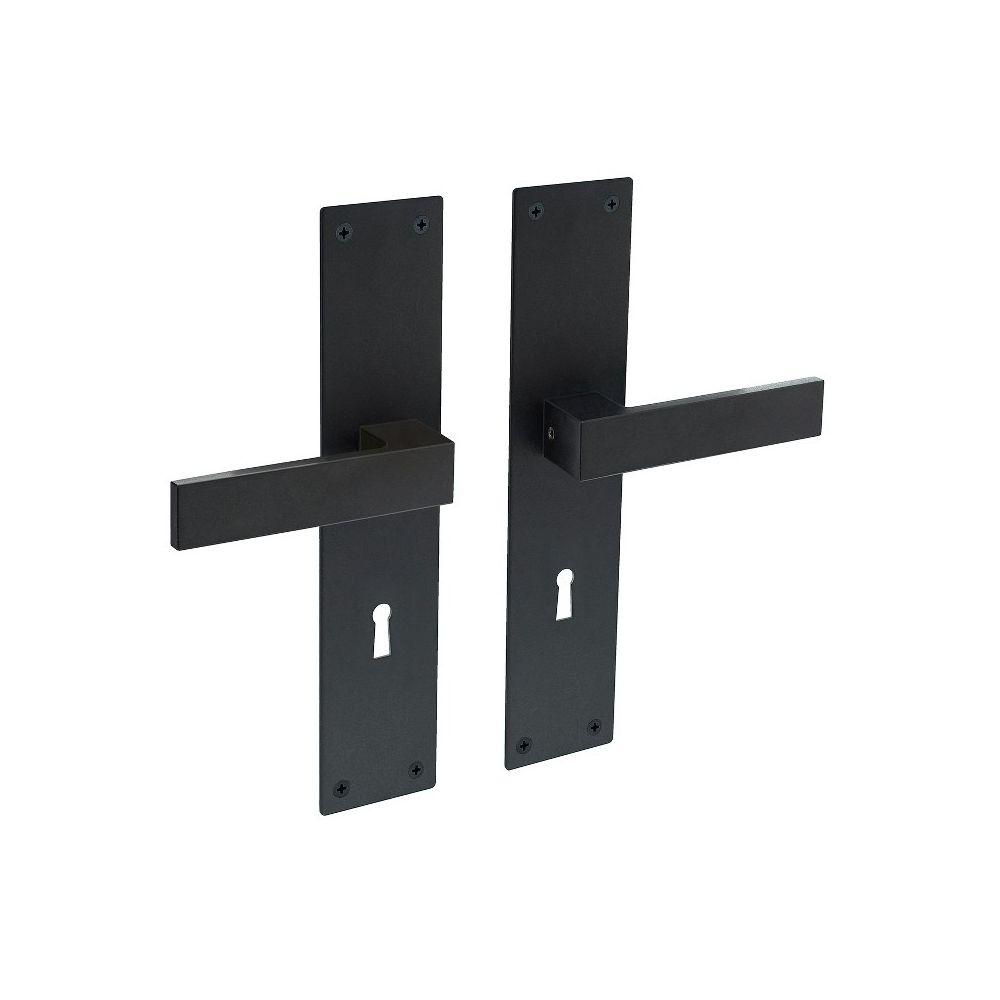 Deurkruk Amsterdam op schild sleutelgat 72mm zwart
