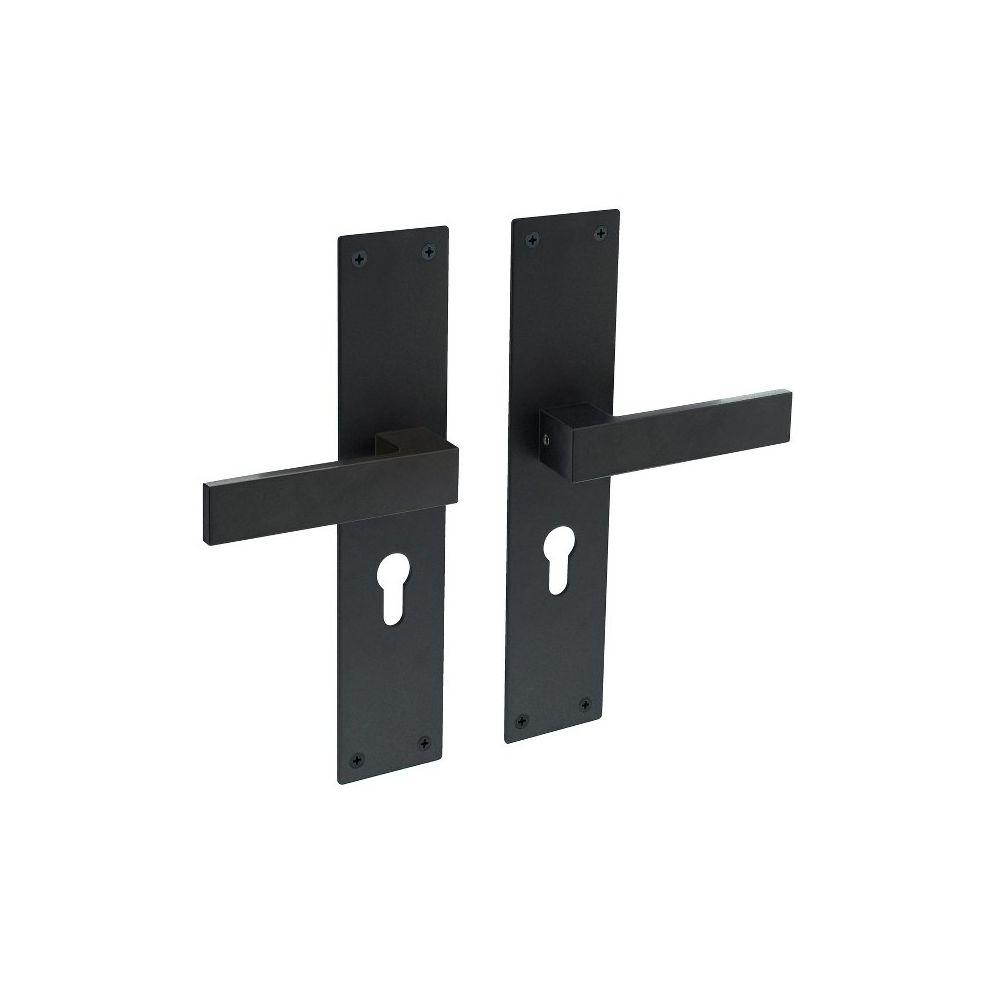 Deurkruk Amsterdam op schild profielcilindergat 55mm zwart