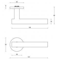 Formani BASIC LBVII-19 gatdeel links op ronde rozet mat zwart EN1906