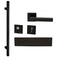 Voordeurset vierkant zwart met lange greep anti-kerntrek SKG***