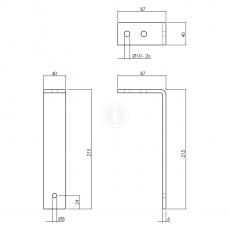 Set van 5 plafondbeugels tbv schuifdeursysteem - mat zwart
