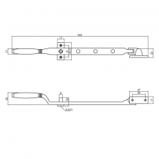 Raamuitzetter Ton met 2 stelpennen - chroom mat/ebbenhout