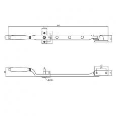 Raamuitzetter Ton met 2 stelpennen - nikkel mat/ebbenhout