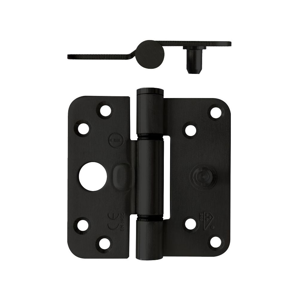Glijlagerscharnier afgerond SKG3 89x89x3mm DIN links zwart