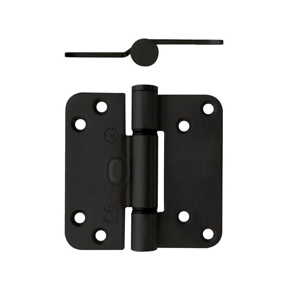 Glijlagerscharnier afgerond 89x89x3mm DIN rechts zwart