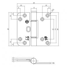 Glijlagerscharnier 89x89x3mm DIN rechts - zwart