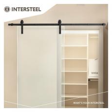 Schuifdeursysteem voor glasdeuren - mat zwart