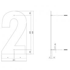 XXL huisnummer 50 cm hoog - RVS