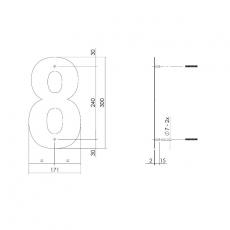 XL huisnummer 30 cm hoog - zwart