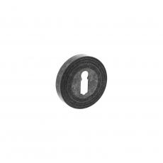 Rozet sleutelgat rond met ril - oud grijs