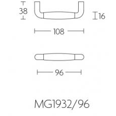 Meubelgreep Nikkel Ton-model modern 96 mm