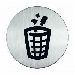 Pictogram zelfklevend rond afvalbak RVS