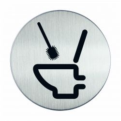 Pictogram zelfklevend rond gebruik toiletborstel RVS